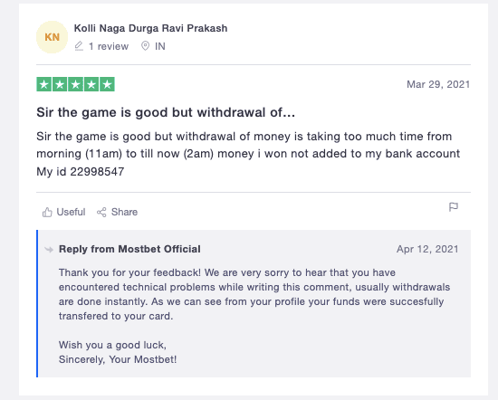 Mostbet player reviews 2021